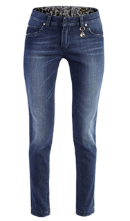Angelo Marani jeans due in uno reversible denim blu e maculato
